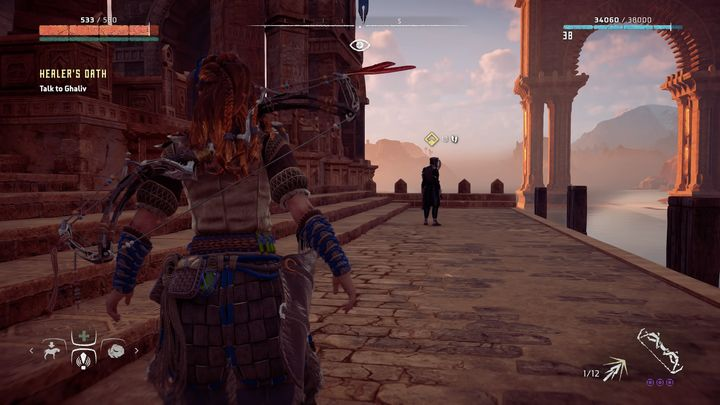 In first order you must go to the Blazon Arch village located south - Healers Oath - errand | Sunfall side quests - Sunfall - Horizon Zero Dawn Game Guide