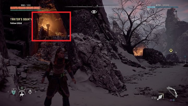 After you climb on the ledge, you will discover that there is much more hunters and a Bahavas priest is accompanying them - Traitors Bounty - side quest | Sunfall side quests - Sunfall - Horizon Zero Dawn Game Guide