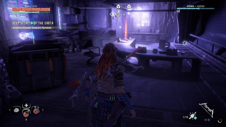There, behind the blocked door you will find Sobecks office - Deep Secrets of the Earth | Walkthrough - Main Missions | Walkthrough - Horizon Zero Dawn Game Guide
