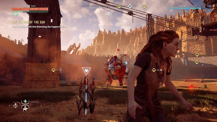Aloy will be thrown into the arena where she will be attacked by a corrupted Behemoth - The Terror of the Sun | Walkthrough - Main Missions | Walkthrough - Horizon Zero Dawn Game Guide