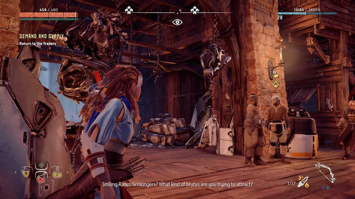 When you get both elements, the quest is updated and you must go to the Village to trade the items for metal shards - Demand and Supply | Meridian Village side quests - Meridian Village - Horizon Zero Dawn Game Guide