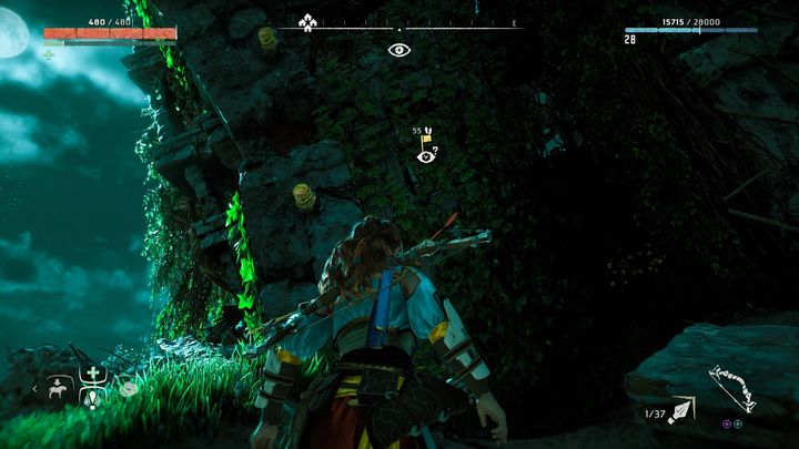 The entrance to the ruins marked by the Vantage point - Vantages | Collectibles - Collections - Horizon Zero Dawn Game Guide