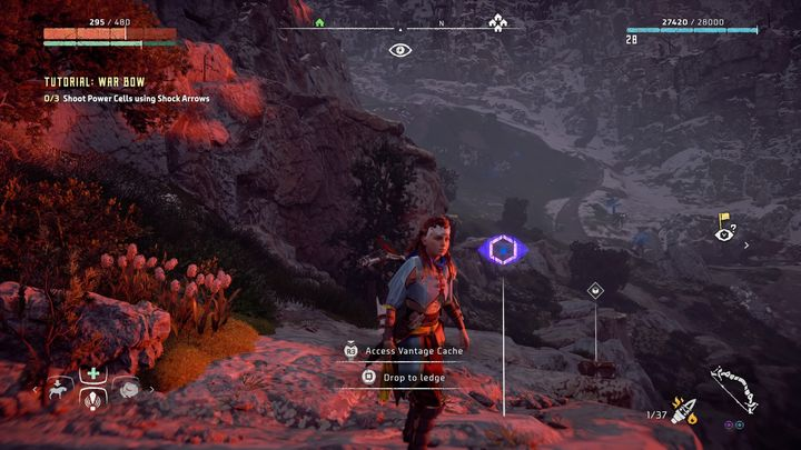 From the campfire, near the Two-Teeth bandits camp, you must go south - Vantages | Collectibles - Collections - Horizon Zero Dawn Game Guide