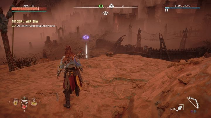 If the campfire on the east from the Vantage point is your orientation point then jump on the mountain chain on the left - Vantages | Collectibles - Collections - Horizon Zero Dawn Game Guide