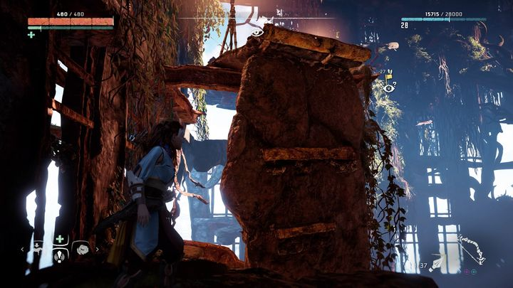 Climb it and get on the ledge and then get on the another climbing pole - Vantages | Collectibles - Collections - Horizon Zero Dawn Game Guide