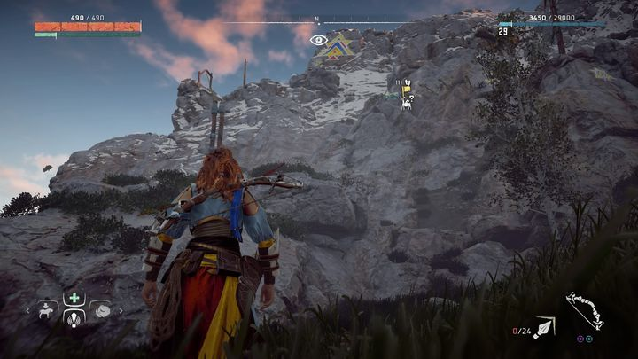 Climb on the one of the rocky walls and you can quickly come across climbing handles - Banuk Figures | Collectibles - Collections - Horizon Zero Dawn Game Guide
