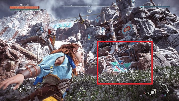 The entrance to the rocky trail is next to the Banuk Encampment - Banuk Figures | Collectibles - Collections - Horizon Zero Dawn Game Guide