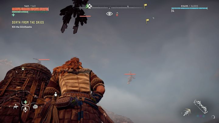 After entering the village you are attacked by a few Glinthawks - Death from the Skies - side quest | World side quests - The world - Horizon Zero Dawn Game Guide