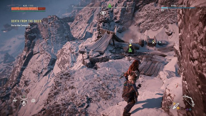 On your way you will come across the same campfire as the one in the picture - Death from the Skies - side quest | World side quests - The world - Horizon Zero Dawn Game Guide