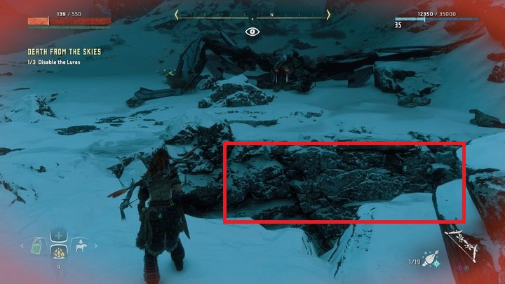 Near the place where you are being attacked you can find the ditch, presented in the picture - Death from the Skies - side quest | World side quests - The world - Horizon Zero Dawn Game Guide