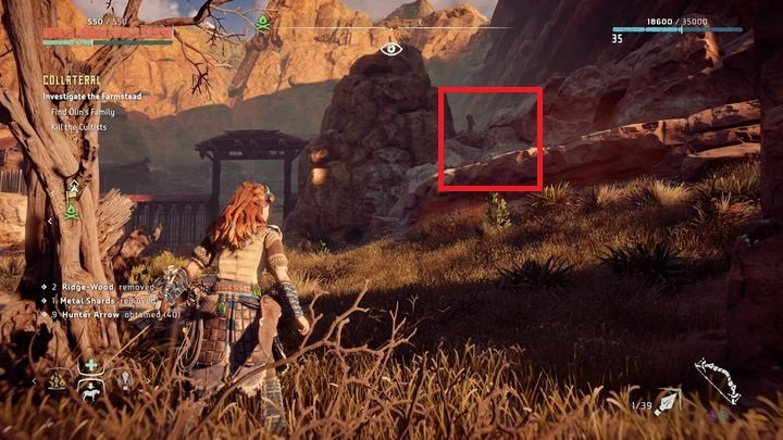 You should use the stone ledge that can be found on the right of the camps main entrance - Collateral - errand | World side quests - The world - Horizon Zero Dawn Game Guide