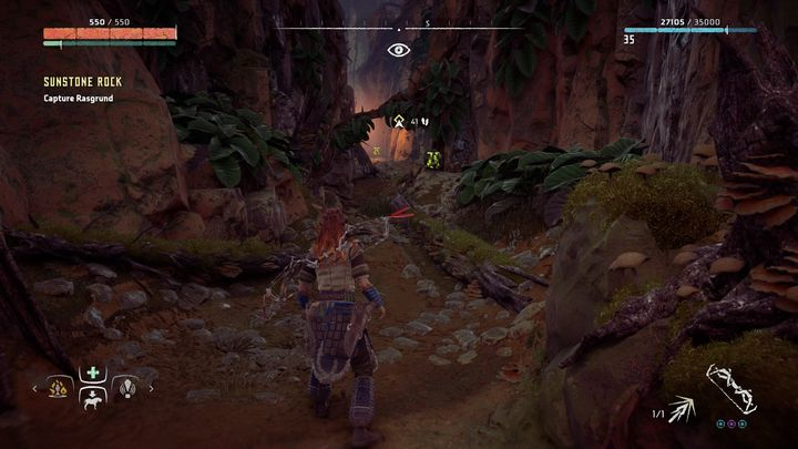Use the handles on the right after the first arch to get on the higher level - Sunstone Rock - side quest | World side quests - The world - Horizon Zero Dawn Game Guide