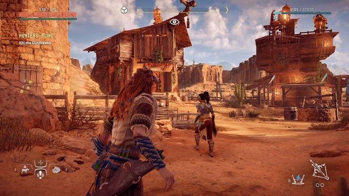 When you get to the village you notice that it is attacked by the Glinthawks - Hunters Blind - side quest | Meridian side quests - Meridian - Horizon Zero Dawn Game Guide