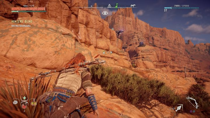 During the conversation with the women Aloy promises that she will find the source of Glinthawks attacks - Hunters Blind - side quest | Meridian side quests - Meridian - Horizon Zero Dawn Game Guide