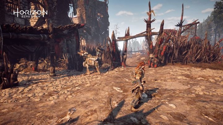 From the campfire in the camp go to the south gate - Where can I find Grazer dummies in Horizon Zero Dawn? - FAQ - Horizon Zero Dawn Game Guide