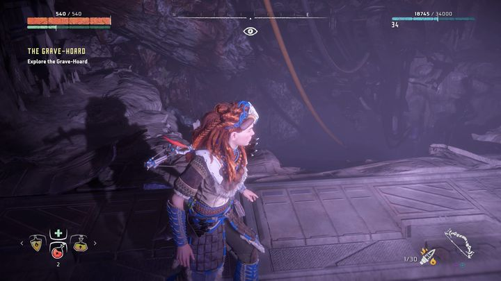 Collect all the notes and go deeper into the ruins through the presented hole in the floor - The Grave-Hoard | Walkthrough - Main Missions | Walkthrough - Horizon Zero Dawn Game Guide