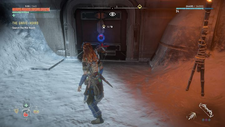 Collect the items that were scattered around and reach the door marked by the indicator - The Grave-Hoard | Walkthrough - Main Missions | Walkthrough - Horizon Zero Dawn Game Guide