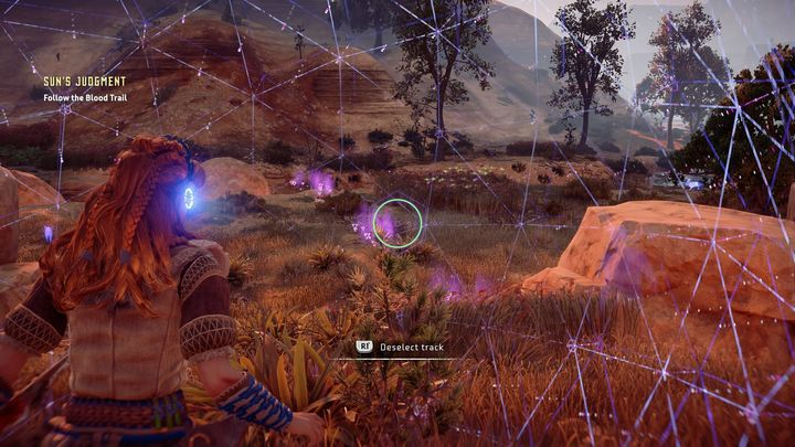 Although the thief got away, use Focus to find his trail - Suns Judgement | Brightmarket side quests - Brightmarket - Horizon Zero Dawn Game Guide