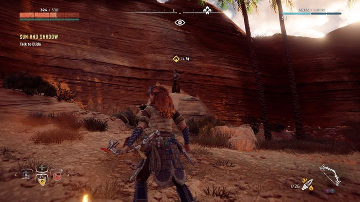 Defeat the nearby Snapmaw - Sun and Shadow | Brightmarket side quests - Brightmarket - Horizon Zero Dawn Game Guide