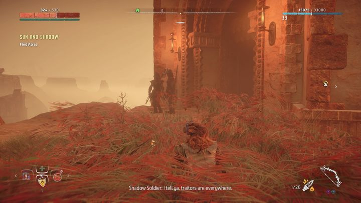 The way will lead to a post occupied by Carja soldiers - Sun and Shadow | Brightmarket side quests - Brightmarket - Horizon Zero Dawn Game Guide