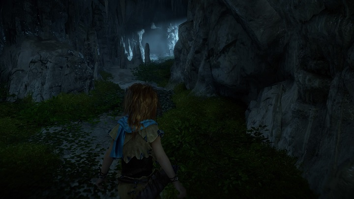 We begin the journey in a vast cave that can be seen on the screenshot - A Gift from the Past | Walkthrough - Main Missions | Walkthrough - Horizon Zero Dawn Game Guide