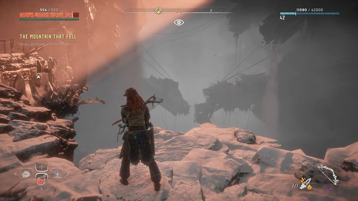 Enter the ruins and this will trigger a cut scene - The Mountain That Fell | Walkthrough - Main Missions | Walkthrough - Horizon Zero Dawn Game Guide