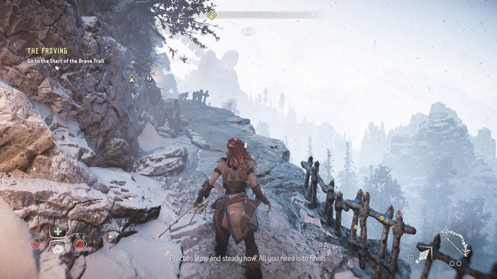 The path of the race leads through a few ledges - be ready - The Proving | Walkthrough - Main Missions | Walkthrough - Horizon Zero Dawn Game Guide
