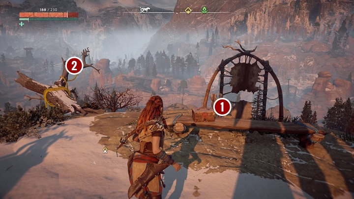 Stand below the rope and jump so Aloy uses it to slide from the mountain - Odd Grata | Embrace side quests - Embrace - Horizon Zero Dawn Game Guide