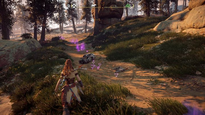 Locate the tracks and mark them so that youre able to follow the trail once Focus is turned off - In Her Mothers Footsteps | Embrace side quests - Embrace - Horizon Zero Dawn Game Guide
