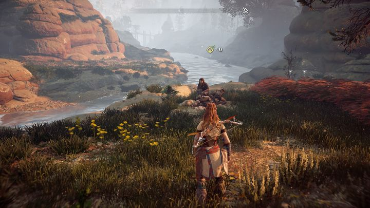 Once you retrieve the spear, return to Thok, either through fast travel or simply make the journey on foot - In Her Mothers Footsteps | Embrace side quests - Embrace - Horizon Zero Dawn Game Guide