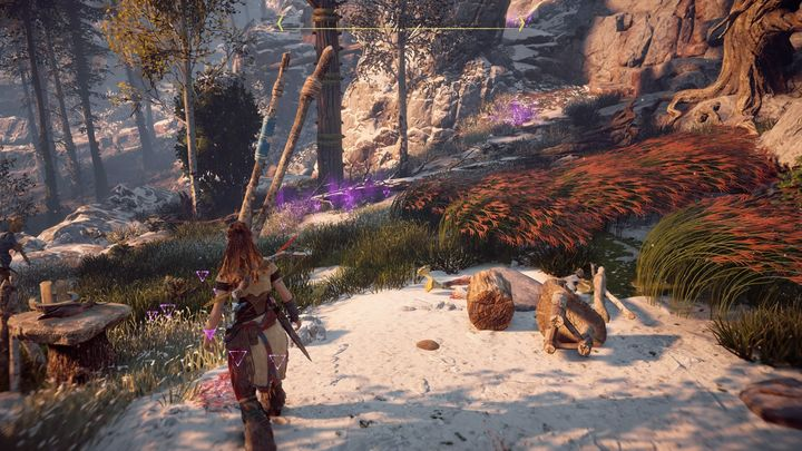 Use Focus to mark the blood trail - The Forgotten | Embrace side quests - Embrace - Horizon Zero Dawn Game Guide