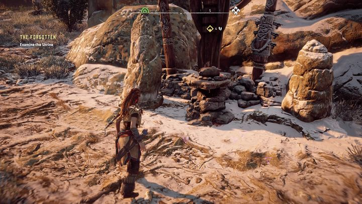 The trail will lead you to a profaned shrine not far from Mothers Head - The Forgotten | Embrace side quests - Embrace - Horizon Zero Dawn Game Guide