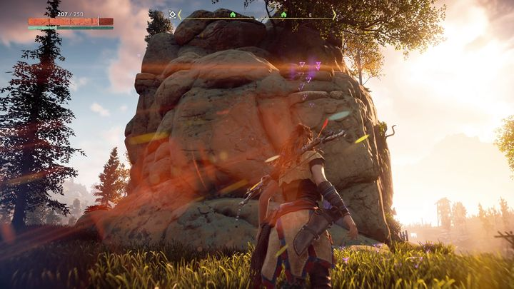 Brom will be found on a steep rock that can be seen on the screenshot - The Forgotten | Embrace side quests - Embrace - Horizon Zero Dawn Game Guide
