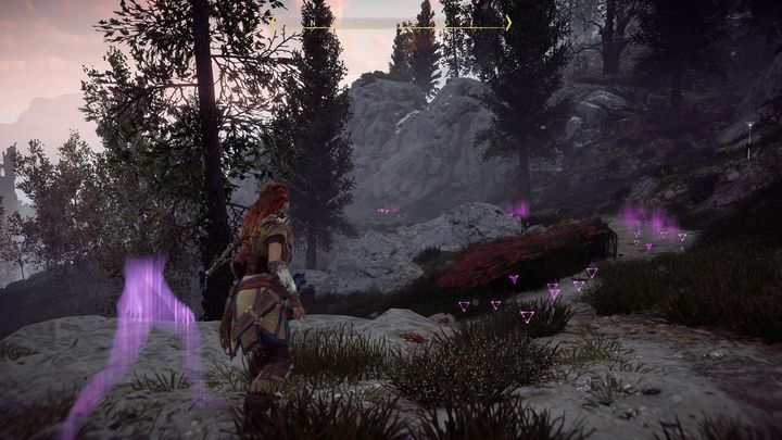 When you examine all of the elements you will see a trail that leads to the mountains - The War Chiefs Trail | Walkthrough - Main Missions | Walkthrough - Horizon Zero Dawn Game Guide