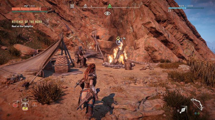Go to the location pointed by the marker - Revenge of the Nora | Walkthrough - Main Missions | Walkthrough - Horizon Zero Dawn Game Guide