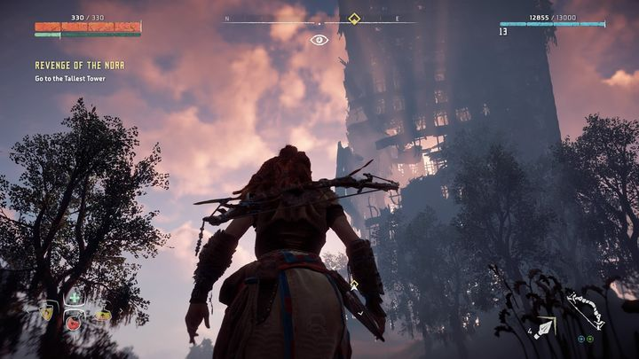 After dealing with the last camp you must proceed further into the ruins and reach the tallest tower in the area - Revenge of the Nora | Walkthrough - Main Missions | Walkthrough - Horizon Zero Dawn Game Guide
