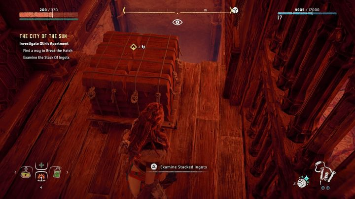 When you are in the house, use Focus and check the floor on the ground level - The City of The Sun | Walkthrough - Main Missions | Walkthrough - Horizon Zero Dawn Game Guide