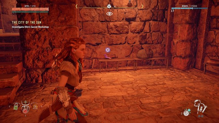 On the left from the entrance you can find a hologram - The City of The Sun | Walkthrough - Main Missions | Walkthrough - Horizon Zero Dawn Game Guide