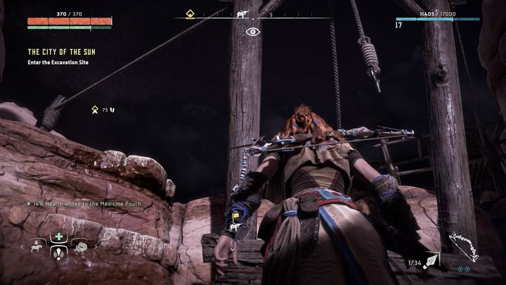 Climb on the place shown on the picture and go in the direction pointed by the marker - The City of The Sun | Walkthrough - Main Missions | Walkthrough - Horizon Zero Dawn Game Guide