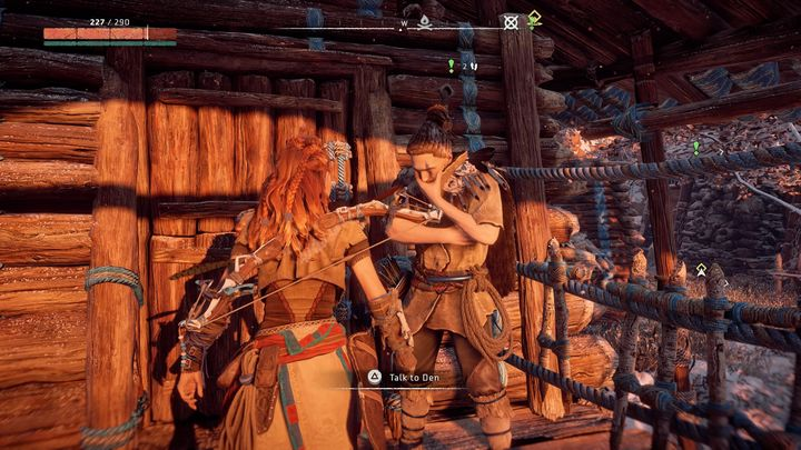 The mission appears in your journal after you speak with Den which can be found in front of one of the huts near the Mothers Crown gates - Sanctuary | Mothers Crown side quests - Mothers Crown - Horizon Zero Dawn Game Guide