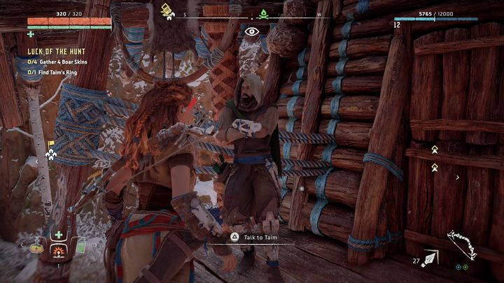 Start the quest by speaking with Taim that stands in front of one of the huts in Mothers Crown - Luck of the Hunt | Mothers Crown side quests - Mothers Crown - Horizon Zero Dawn Game Guide
