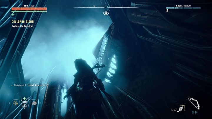 The road leads down and, for a moment, there wont be any enemies - Cauldron SIGMA | Mothers Crown side quests - Cauldrons - Horizon Zero Dawn Game Guide