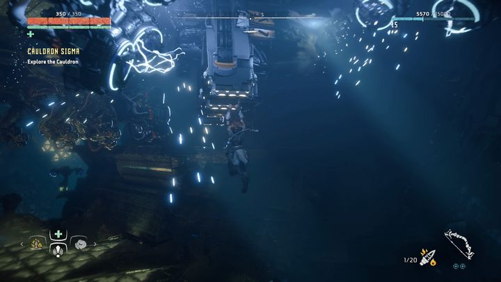 Behind them, you can find the next string of machines that transports containers throughout the entire Cauldron - Cauldron SIGMA | Mothers Crown side quests - Cauldrons - Horizon Zero Dawn Game Guide