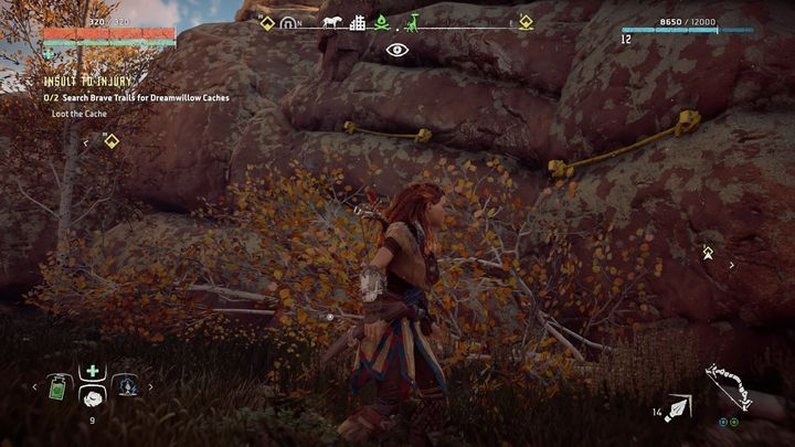 You can access the bag from the ground so you have to climb on the rock which is connected with the pole by a rope - Insult to Injury | Embrace side quests - Embrace - Horizon Zero Dawn Game Guide