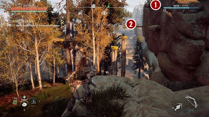 The second bag can be found on the pole presented in the picture - Insult to Injury | Embrace side quests - Embrace - Horizon Zero Dawn Game Guide