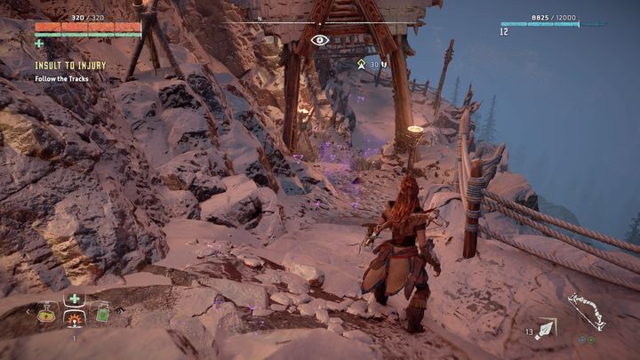 Use Focus to find their tracks - Insult to Injury | Embrace side quests - Embrace - Horizon Zero Dawn Game Guide
