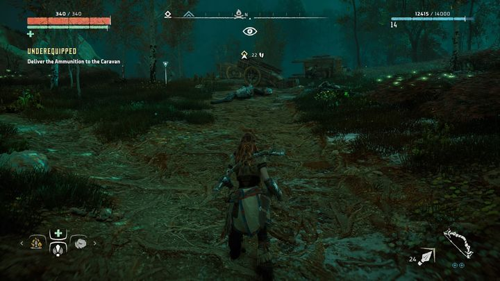 When you finally arrive at your destination point it turns out that the caravan is badly damaged - Underequipped | Hunters Gathering side quests - Hunters Gathering - Horizon Zero Dawn Game Guide