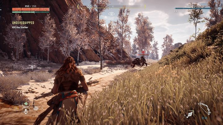 During the conversation the thief is suddenly hit by a Stalker that hides nearby - Underequipped | Hunters Gathering side quests - Hunters Gathering - Horizon Zero Dawn Game Guide