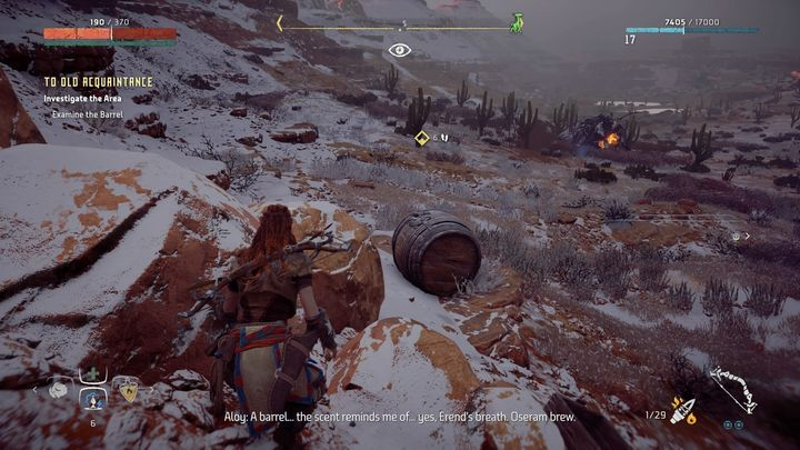 Use Focus to detect the items that can help you in tracking - To Old Acquaintance | Hunters Gathering side quests - Hunters Gathering - Horizon Zero Dawn Game Guide