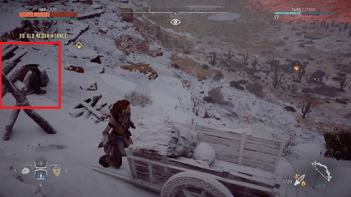 After examining the barrel Aloy discovers that Kendert hides in the mountains - To Old Acquaintance | Hunters Gathering side quests - Hunters Gathering - Horizon Zero Dawn Game Guide